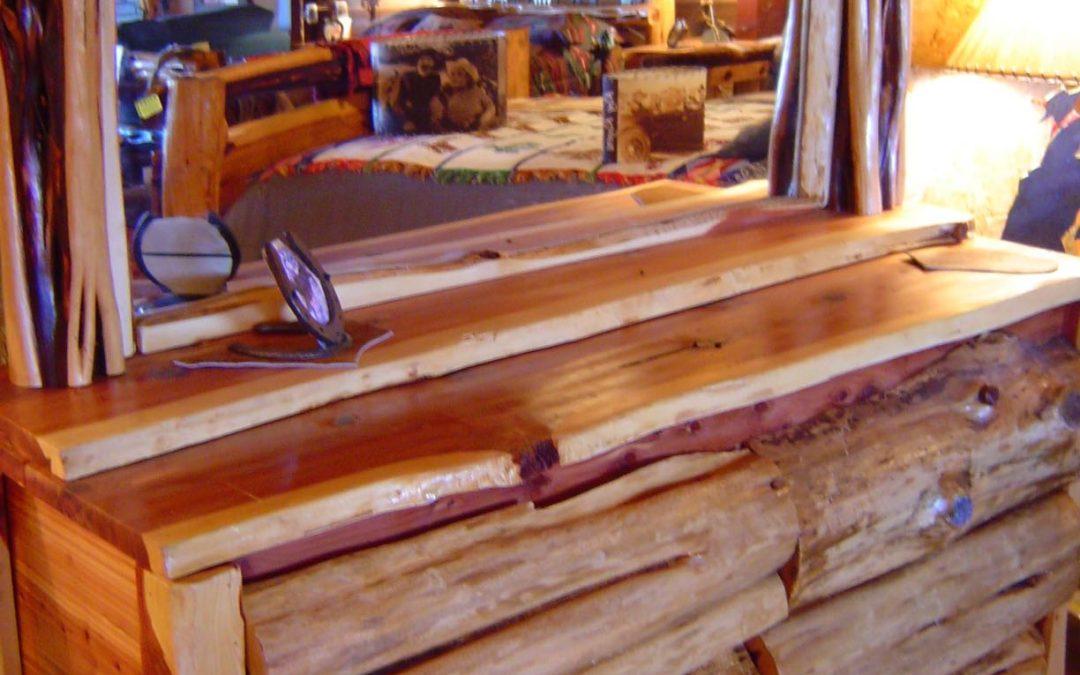 Dresser-Cedar-Log Front-6 Drawers-Cedar Frame Mirror-