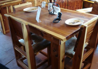 Dining Table Cedar-4 Cedar Chairs with Cowhide Seats
