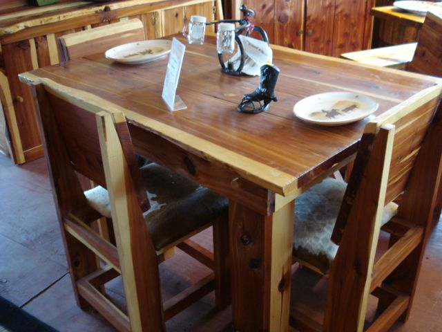 Dining Table Cedar 4 Chairs With Cowhide Seats