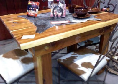 Dining Table Cedar-4 Rebar Chairs with Cowhide Seats