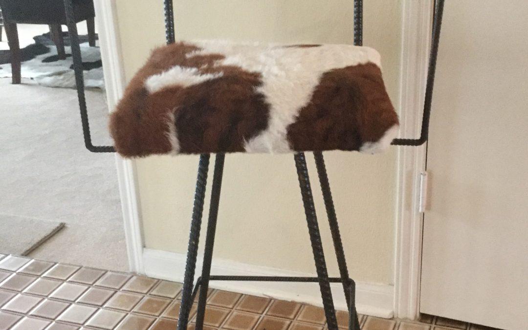Bar Chair, Swivel, Star, Cowhide-Arms-min