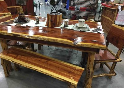 Dining table-Cedar-2 Benches-4 Chairs